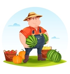 Agrarian or agricultural farmer in field vector image vector image