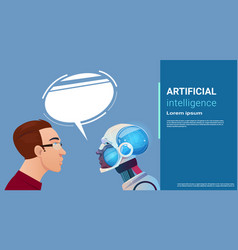 Artificial intelligence man communication with vector