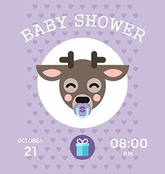 Baby shower invitation template with little deer vector image