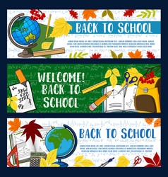 Back to school stationery banners vector