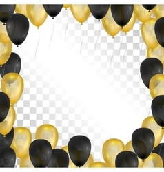 Balloons on transparent background Gold and black vector image