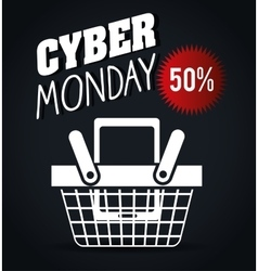Basket discount cyber monday black background vector