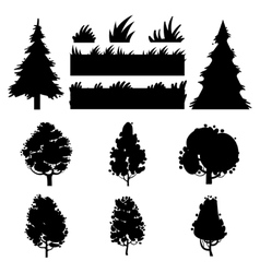 Black trees and grass silhouettes vector