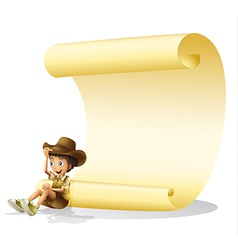 Boy and scroll vector image vector image