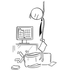 cartoon of hanged business man who commit suicide vector image