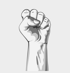 Clenched fist black and white vector
