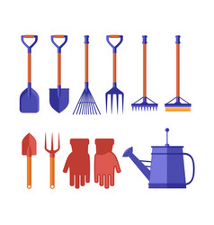 Colorful garden tools for gardening landscaping vector