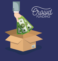 Crowd funding poster with hand depositing money vector