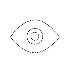 eye sign black dashed icon vector image