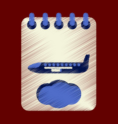 Flat icon in shading style aircraft calendar vector