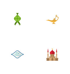 Flat icons genie malay arabic calligraphy and vector