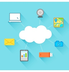 Flat Technology Design of Cloud Computing vector image vector image
