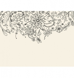 floral doodle background vector image vector image