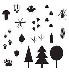 Forest life silhouette outline icons vector