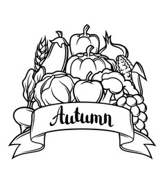 Harvest festival background autumn vector