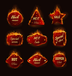 Hot sale burning fire flame black friday shop vector