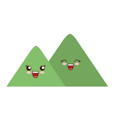 Kawaii mountains icon vector