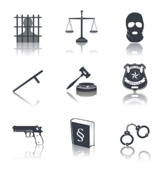 Law and justice icons black vector image vector image