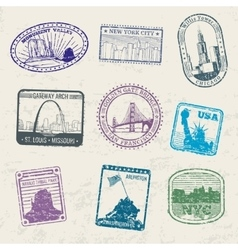 Mail travel stamps with USA city symbols vector image vector image