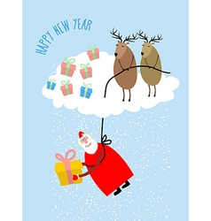 Santa Claus comes down on a rope and gives a gift vector image vector image