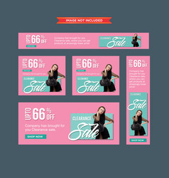 Set of modern pink and blue clearance sale web vector