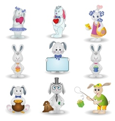 Set toy rabbits vector image