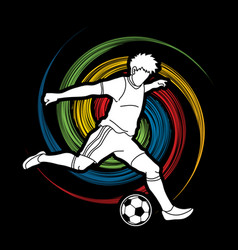 Soccer player running and kicking a ball action vector