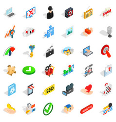 Spam letter icons set isometric style vector