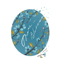 Spring Flowers and Leaves Branches Drawing vector image