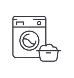 washing machinelaundry service line icon vector image