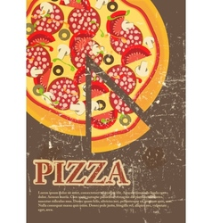 Pizza Menu Template in vintage retro grunge style vector image