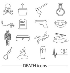 death theme set of black simple outline icons vector image