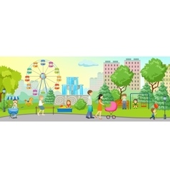 City park colored concept vector