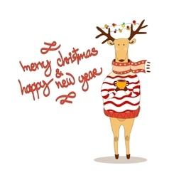 Christmas deer happy new year reindeer vector