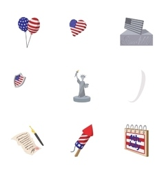 Holiday independence day of usa icons set vector