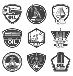 Monochrome oil industry labels vector