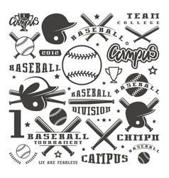 icons and badges set of baseball team vector image