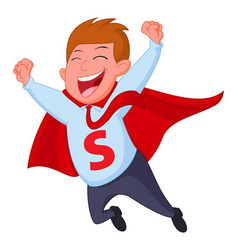 happy superhero businessman fly vector image