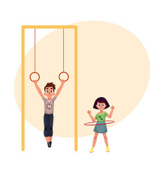 Friends at playground hanging on gymnastic rings vector