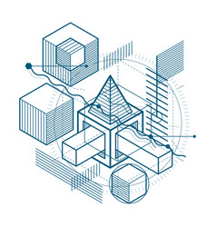 Isometric abstraction with lines and different vector