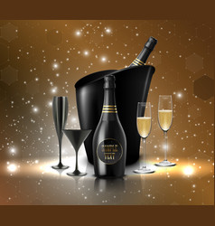 Wineglass with a bottle of champagne in a bucket o vector