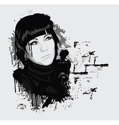 Ink style portrait of woman vector image