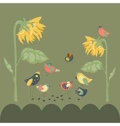 Birds pecking sunflower seeds vector