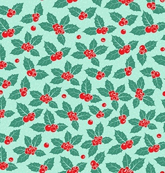 Holly berry flat seamless pattern vector
