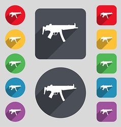 Machine gun icon sign a set of 12 colored buttons vector