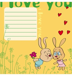 I love you card with kissing rabbits vector