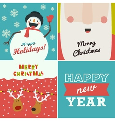 Set of four christmas and new year greeting cards vector