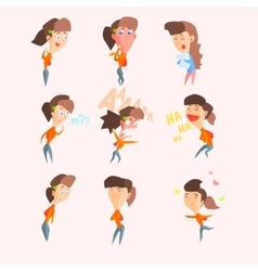 Women emotions set in flat vector
