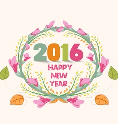 Happy new year 2016 watercolor purple flowers vector
