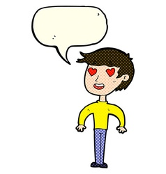 Cartoon man in love with speech bubble vector